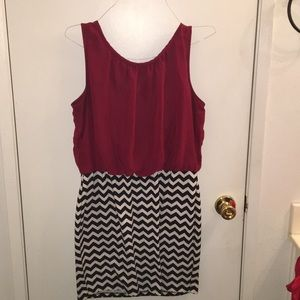 A red/stripped dress.
